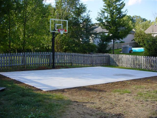 Backyard basketball court size basketball scores for Cost to build a backyard basketball court