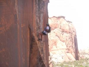 Allison on her descent down an 80 foot vertical drop