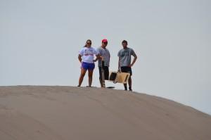 Allison, David and Adam preparing for a big run down a slope