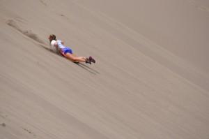 Allison liked to sled backwards