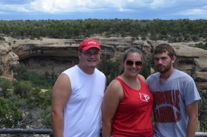 Posing in front of some cliff dwellings in Mesa Verde National Park