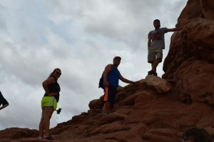 They climbed up into an arch at Arches National Park